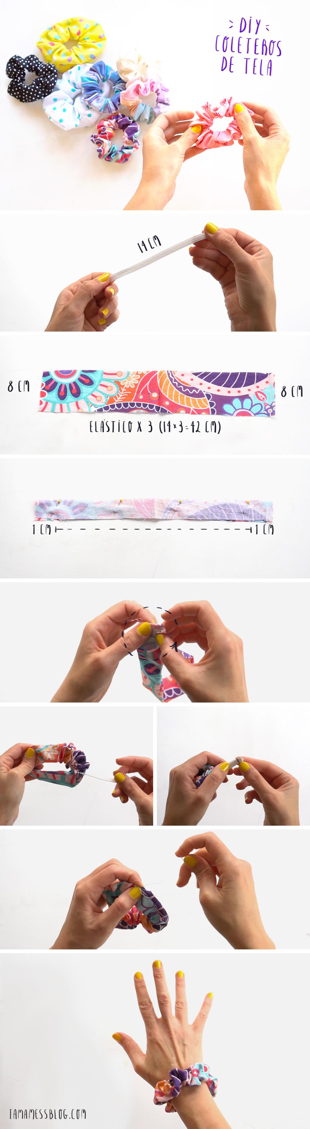 Como hacer coleteros de tela DIY paso a paso, visto en