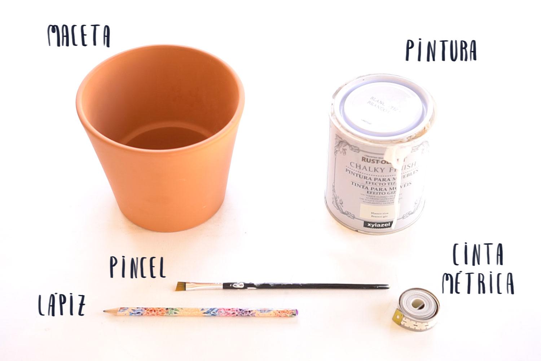 Materiales para pintar macetas con estampado mudcloth, visto en