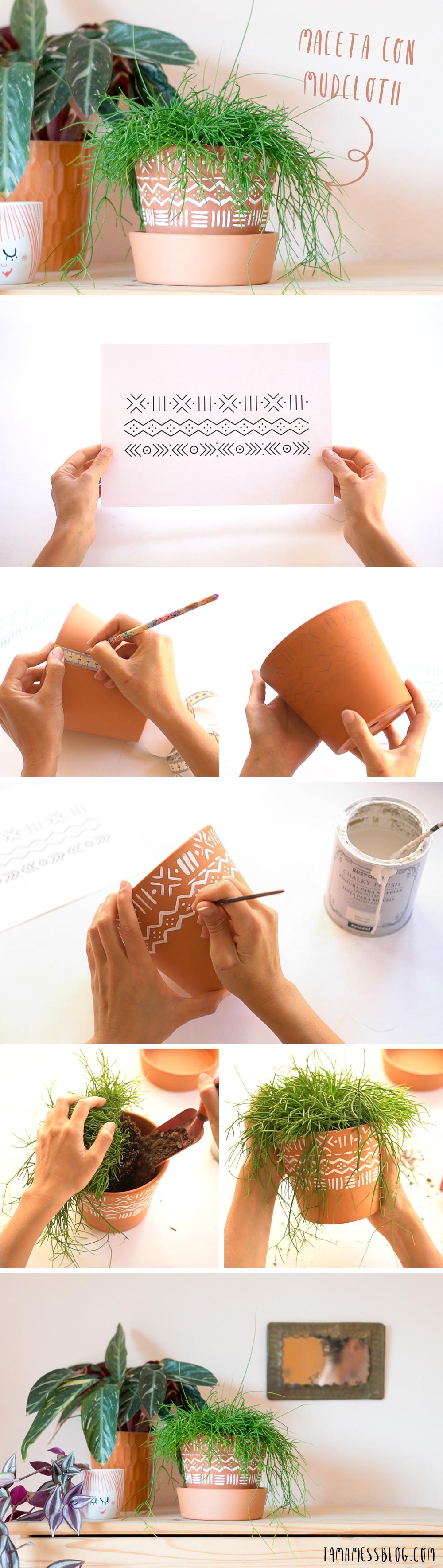 "Como pintar macetas con estampado mudcloth, visto en ""I am a Mess Blog"""
