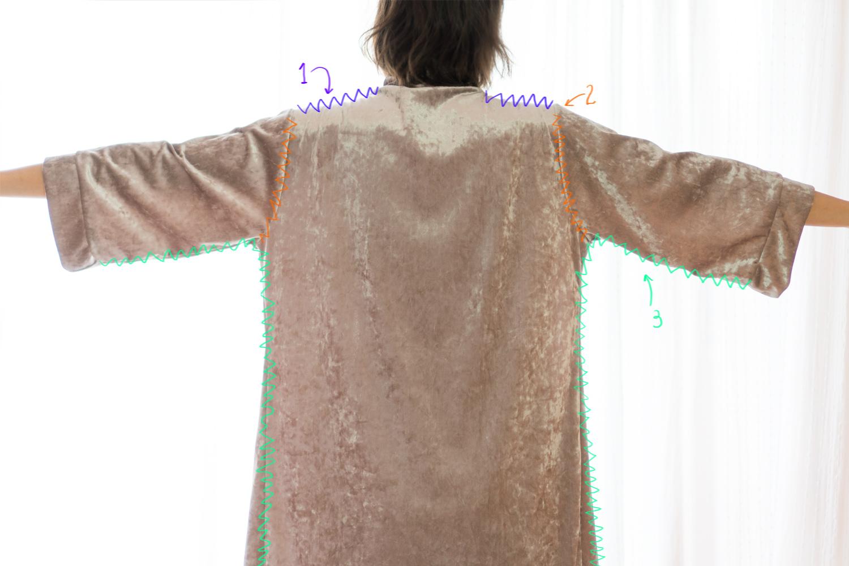 Bata Kimono DIY - montar las piezas