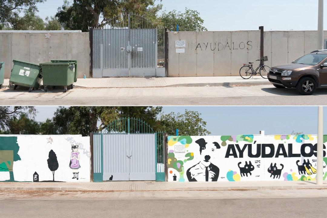 renovando la protectora de animales, muro de entrada