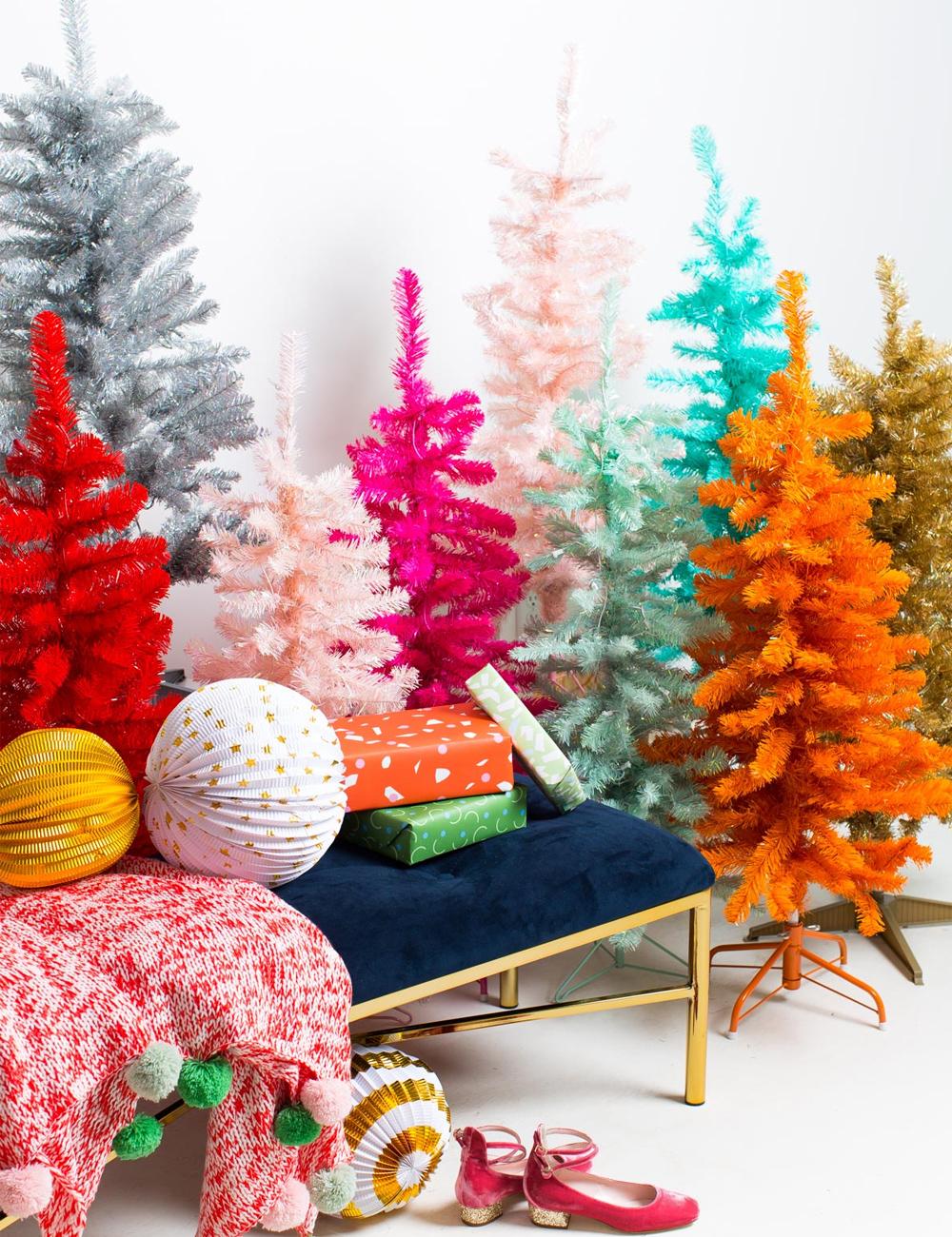 Inspiración: Árboles de navidad de colores. Visto en