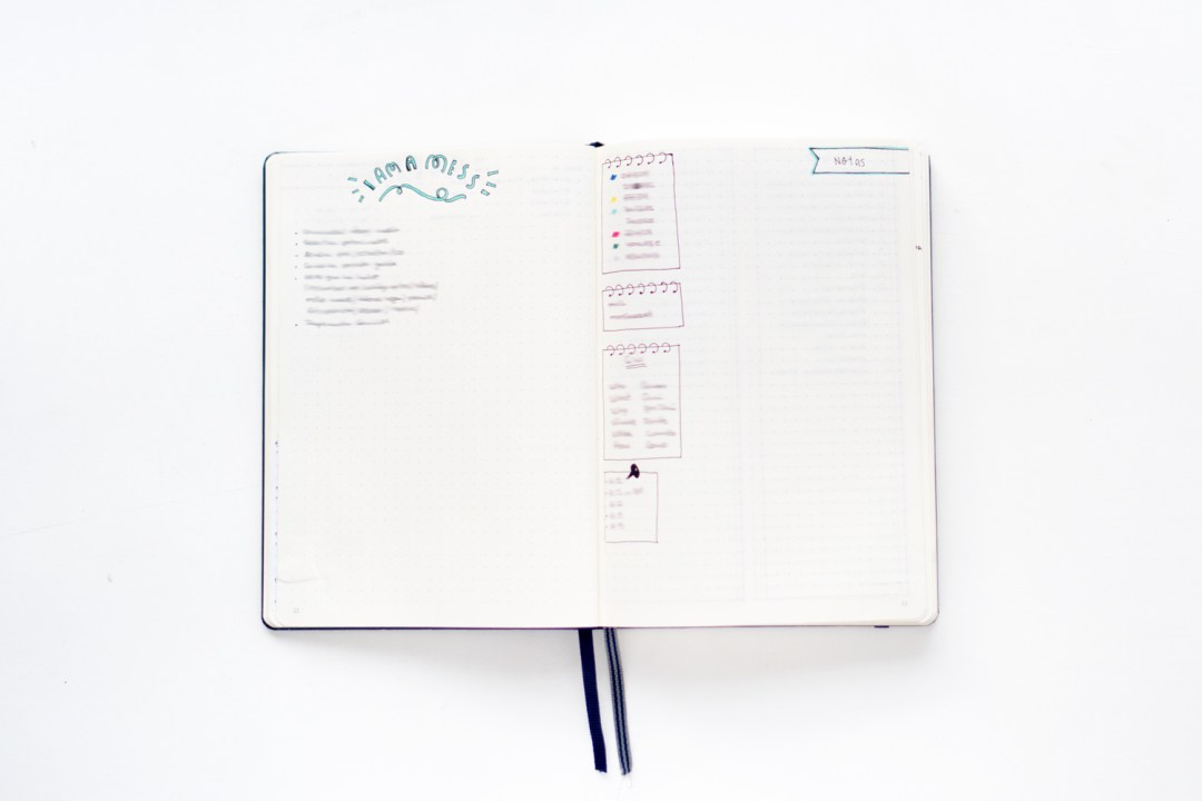 "Tareas y anotaciones en el Bullet Journal. Visto en ""I am a Mess Blog"""
