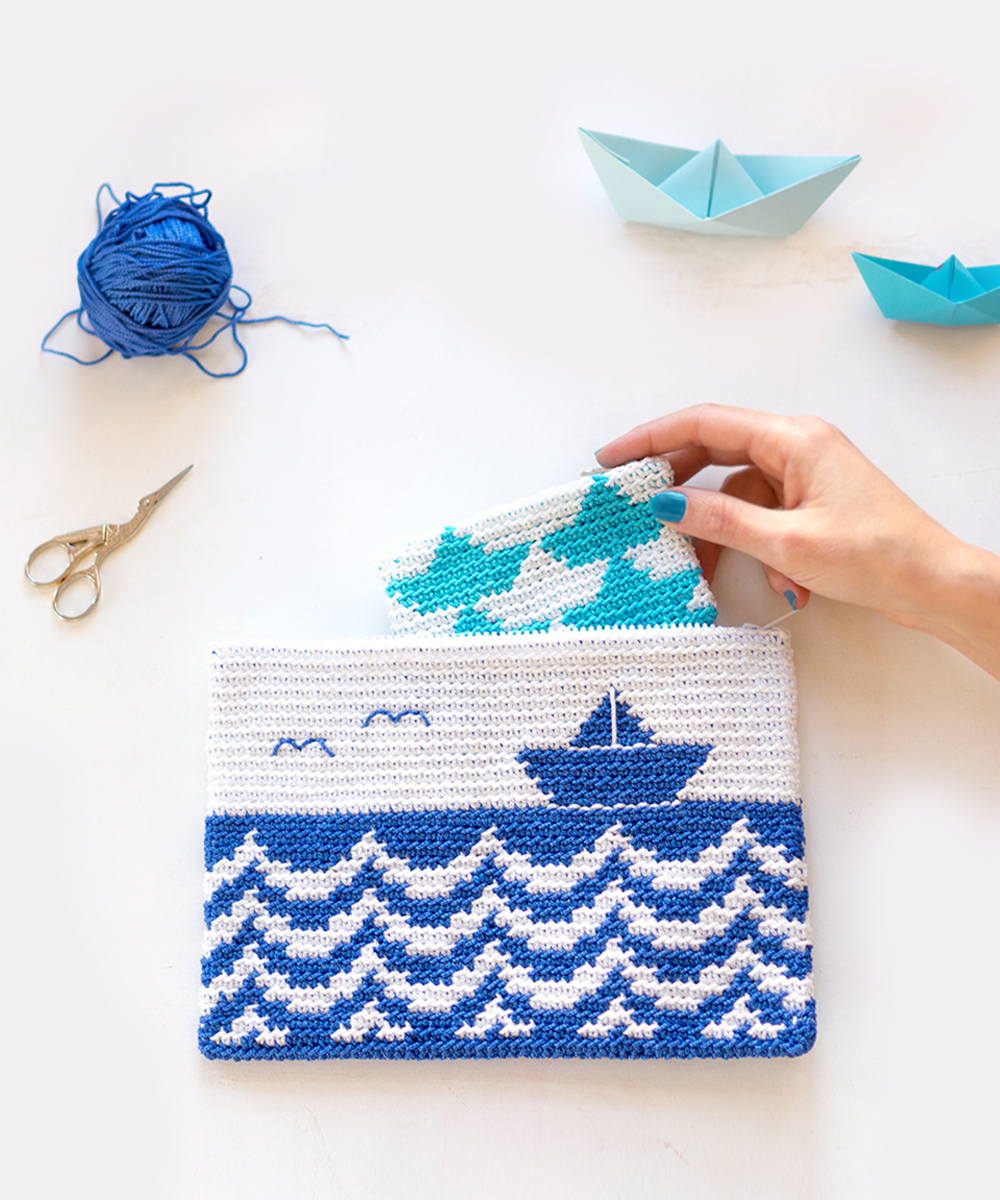 Clutch Mediterráneo, clutch de ganchillo visto en iamaMess blog