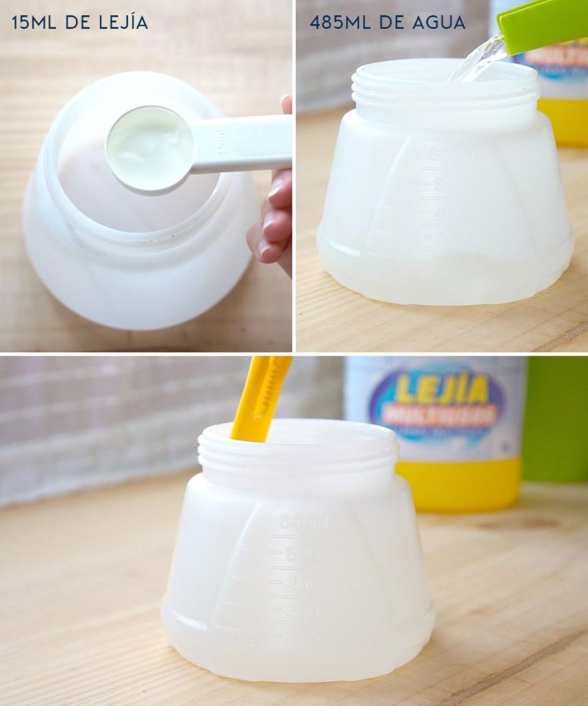 Proporción de lejia y agua para hacer desinfectante