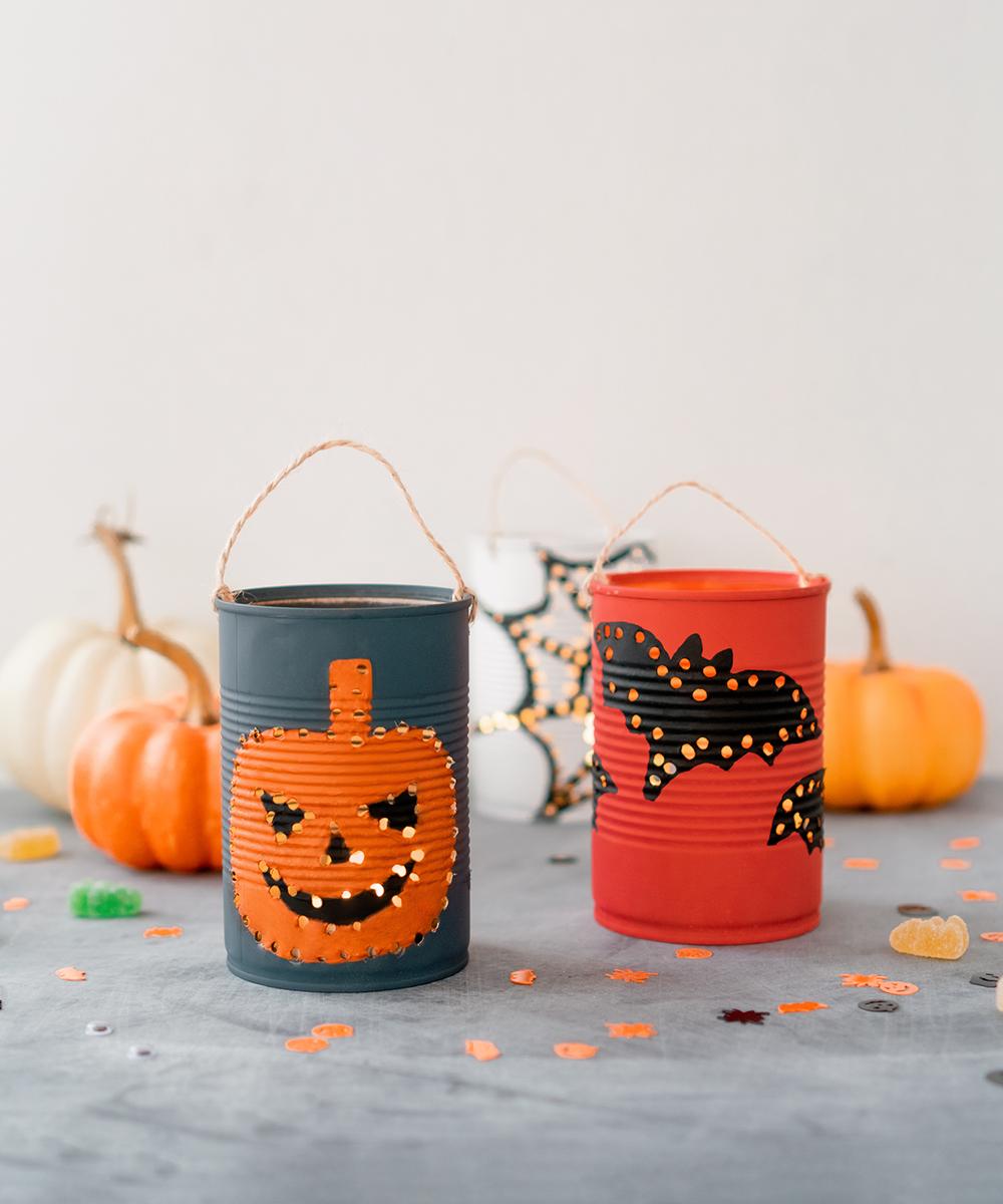 Farolillos de Halloween reutilizando latas