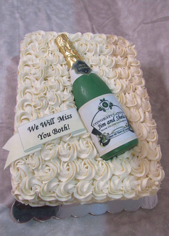 Rose Swirled Retirement Cake