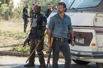 Lennie James as Morgan Jones, Andrew Lincoln as Rick Grimes- The Walking Dead _ Season 7, Episode 16 - Photo Credit: Gene Page/AMC