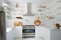 See L Shaped Open Shelving in My Dream Kitchen from ABM (http://www.abeautifulmess.com/2015/11/elsies-kitchen-progress-report-part-2-.html)