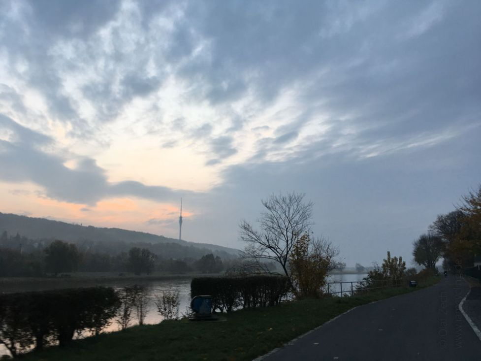 Elberadweg am frühen Morgen im November