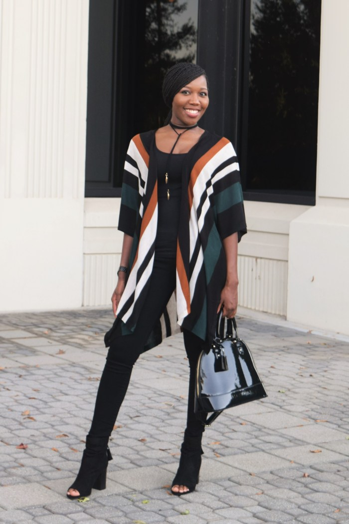 Casual Friday: Striped Cardigan + Black Jeans