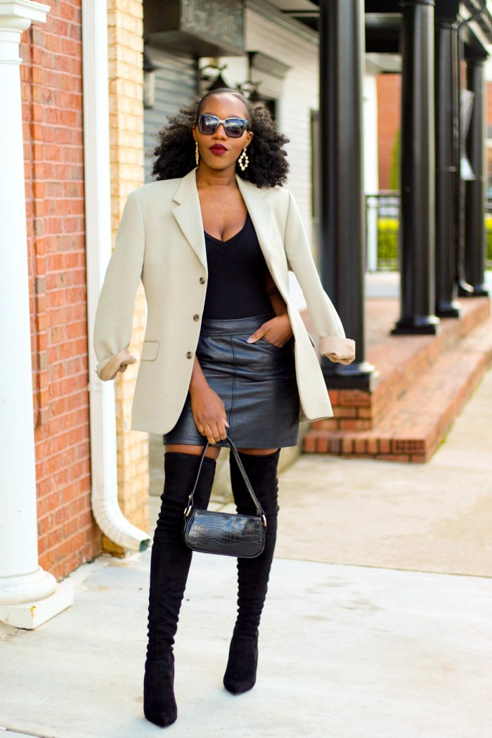 Looks Inspired By Pinterest: Thrifted Leather Skirt + Blazer