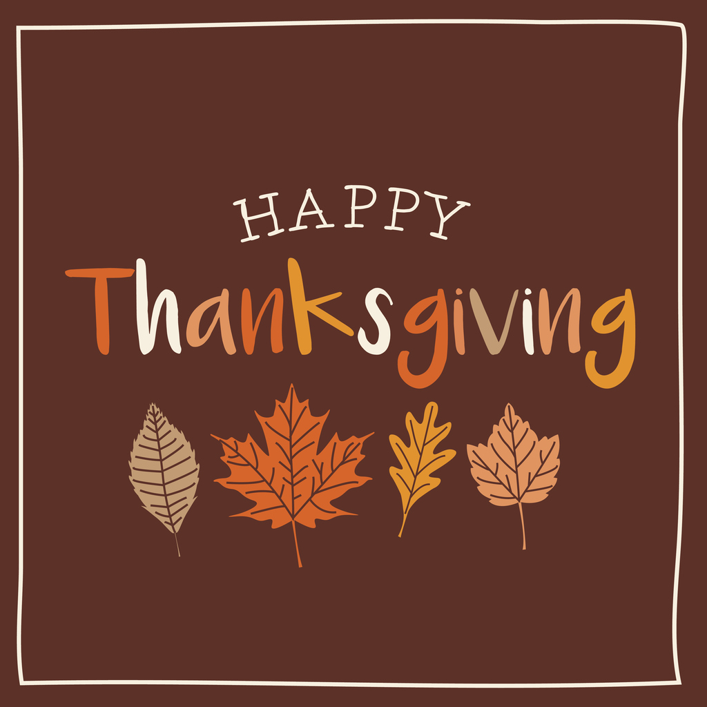 Thanksgiving card with autumn leaves, brown background.