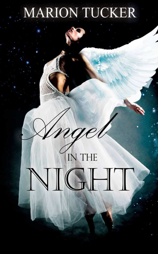 Angel in the night ebook cover design by Iamgonegirldesigns beautiful angel wings white dark background pretty model woman fly
