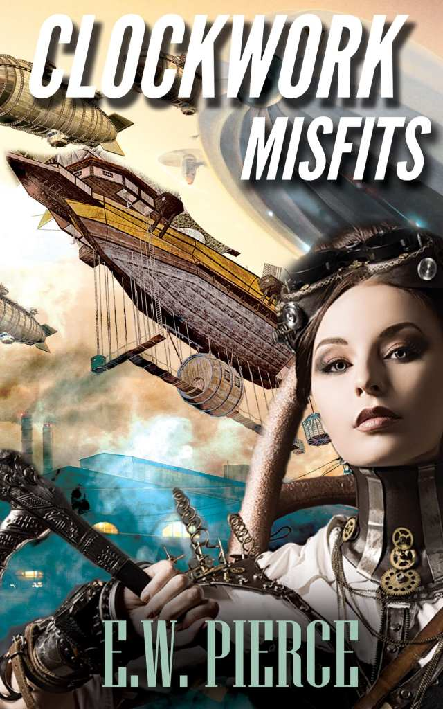Misfits EW Peirce book cover design premade by Iamgonegirldesigns sale steampunk ships fog female protagonist