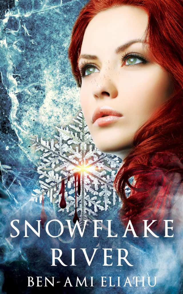 Snowflake river book cover design by Iamgonegirldesigns beautiful close up face eyes blood crystal young adult adventure fantasy action must read book