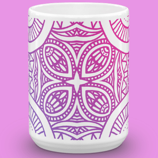gradient purple mandala mug