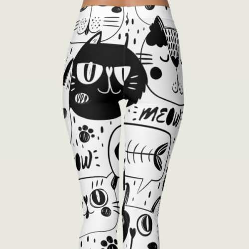 Funny Black and White Cat Faces Yoga Leggings For Women,meow leggings black and white cat kittens pretty women