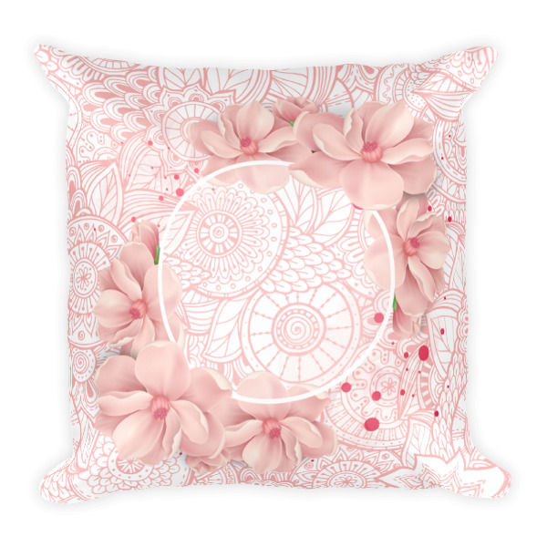 Abstract Pink Print Floral Wreath Pillow