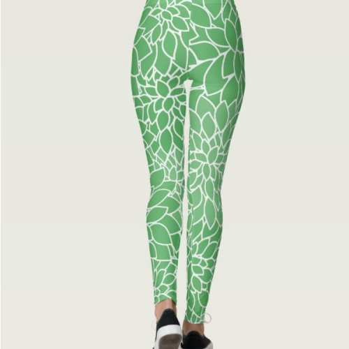 floral womens leggings colorful green