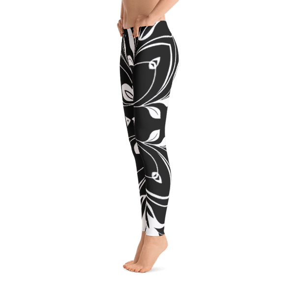 Black and White Floral Butterfly Leggings