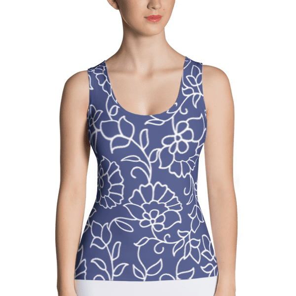 Blue and White Floral Pattern Tank Top