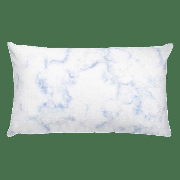 Classic Blue Hued Marble Rock Textured Rectangular Pillow