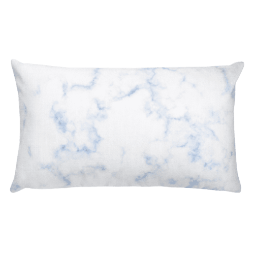 Classic Blue Hued Marble Rock Textured Rectangular Pillow