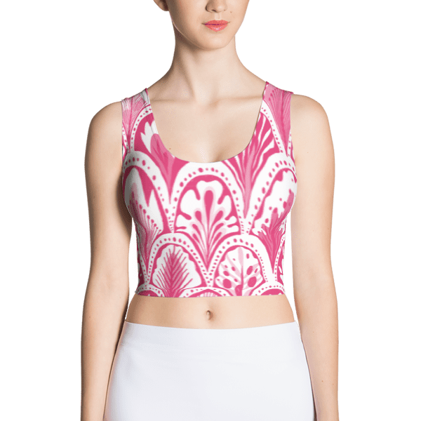 Abstract Hearts Pink Crop Top