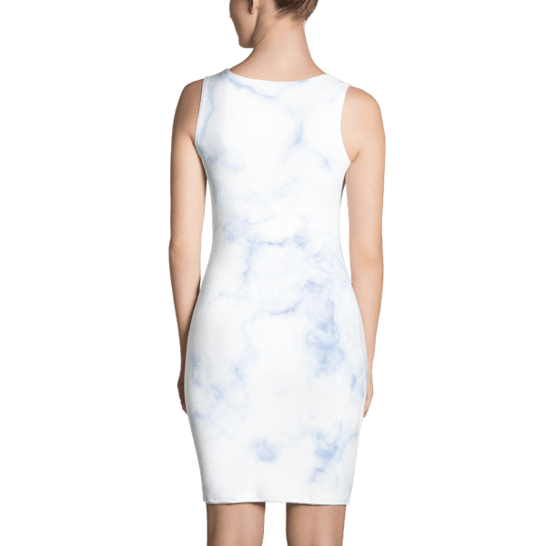 Classic Blue Hued Marble Rock Textured Dress