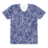 Blue and White Floral Pattern women's crew neck t-shirt