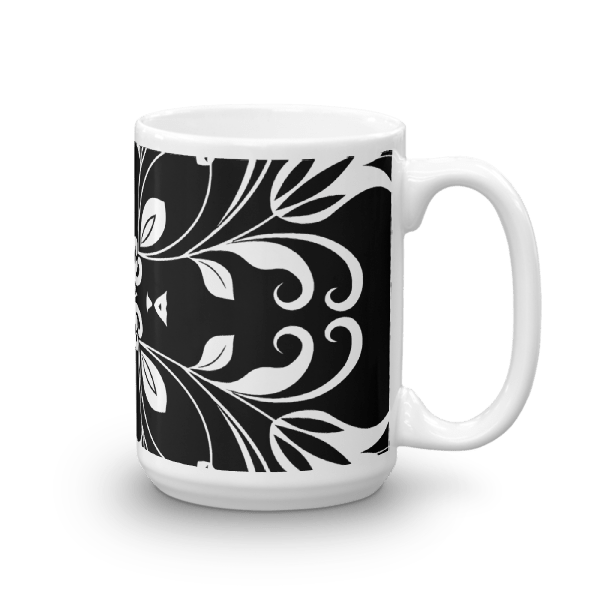 Black and White Floral Butterfly Mug