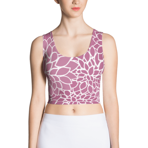 Abstract Leafy Purple Fitted Crop Top