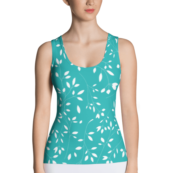 Baby Blue and White Floral Leaf Tank Top