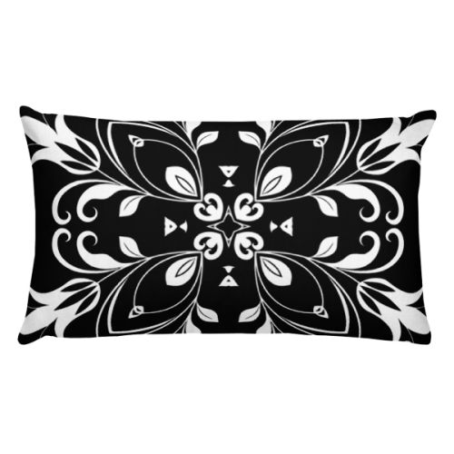 Black and White Floral Butterfly Rectangular Pillow