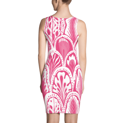 Abstract Hearts Pink Dress