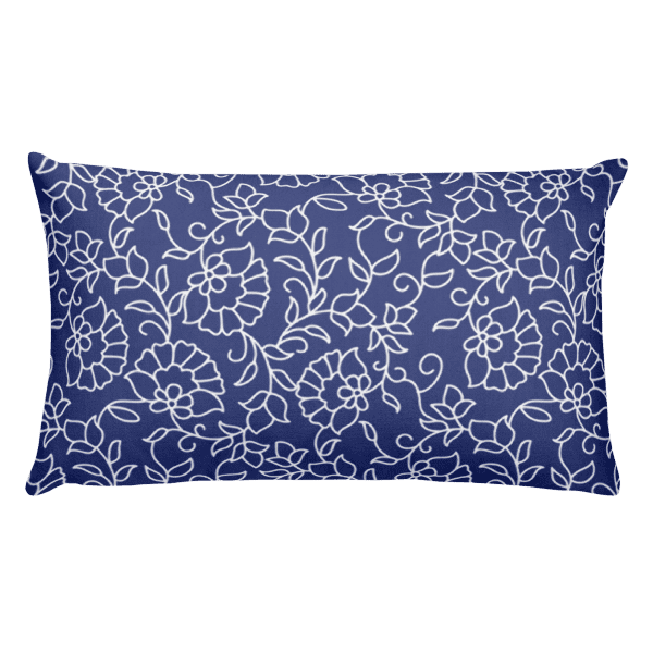 Blue and White Floral Pattern Rectangular Pillow