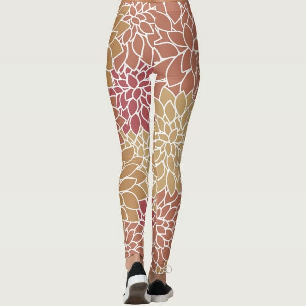 floral womens leggings colorful multicolor nature brown burgundy leaves