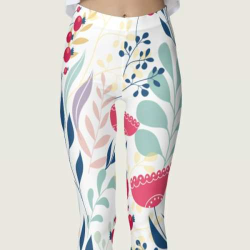Beautiful Multicolored Earthy Floral Leggings