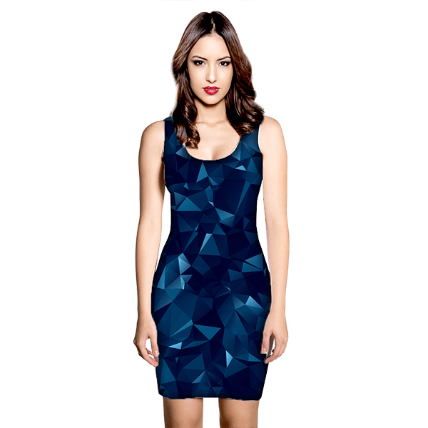 Blue Abstract Polygonal Mesh Dress
