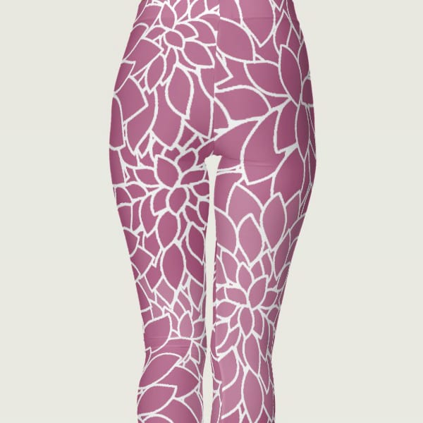 floral womens leggings colorful multicolor nature purple and white