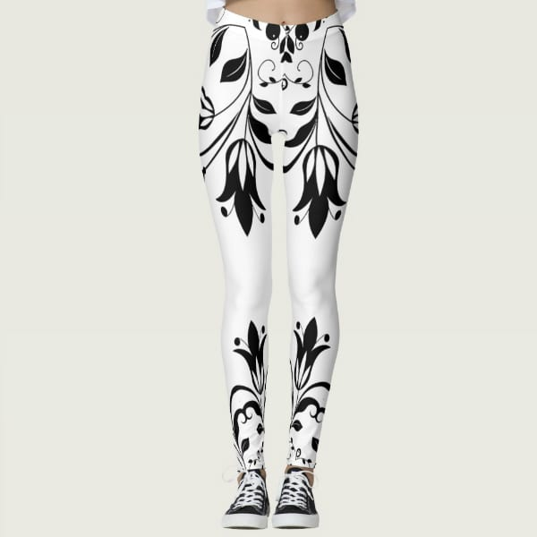 Black and White Floral Ornamental tips Leggings