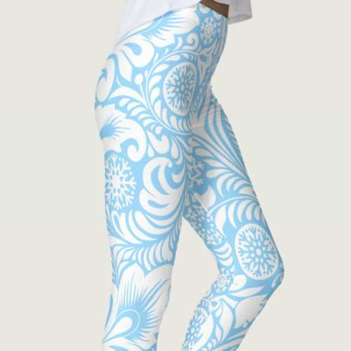 Bohemian Ocean Blue Floral Wave Leggings