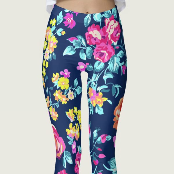 Gorgeous Colorful Chaos Flower Pattern Leggings