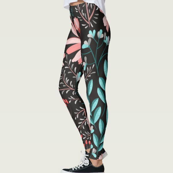 Black Print Pattern Nature Leggings