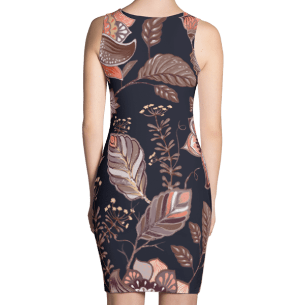 Brown Multi-Color Nature Leaves Pattern Dress