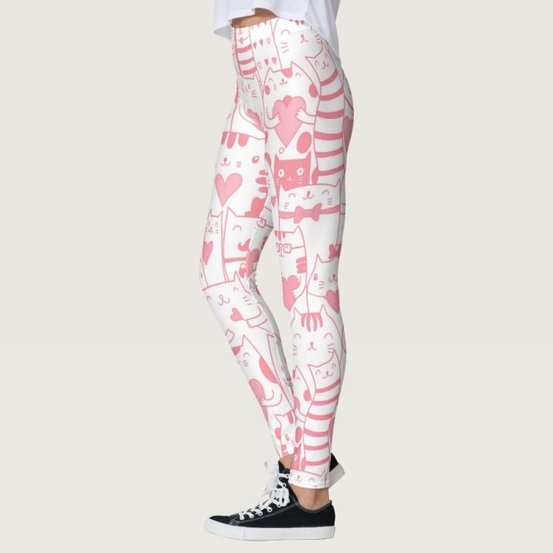 Heart You Printed Kawaii Munchkin Cat Leggings in Pink and White