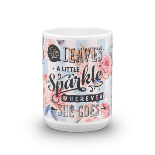 She Leaves Sparkles Blue and Pink Floral Valentine Mug