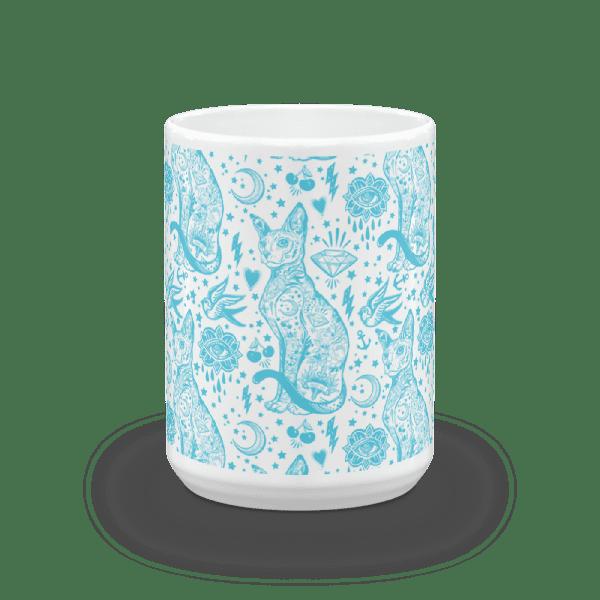 Tattoo Blue and White Cat Pattern Mug