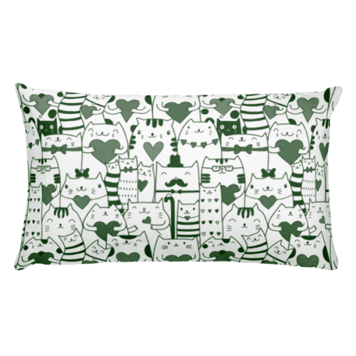 Heart You Green and White Cat Rectangular Pillow
